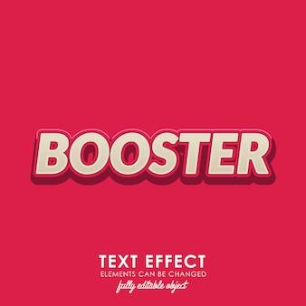 Efecto de texto de refuerzo con negrita, diseño en 3d y agradable tema rojo