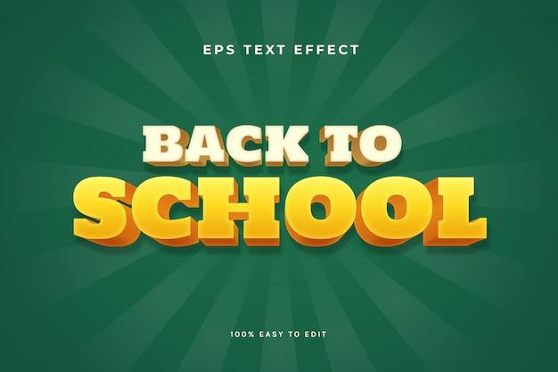Efecto de texto de regreso a la escuela 3d