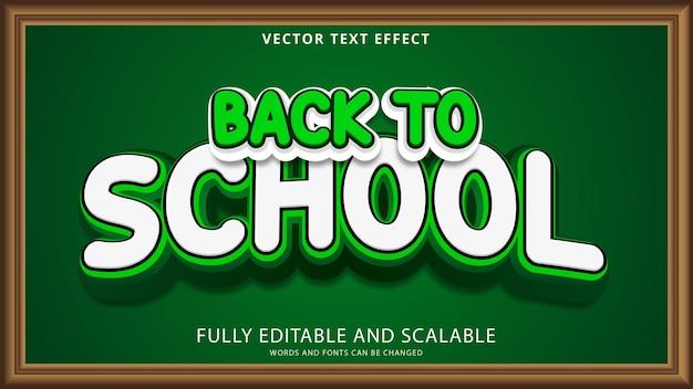 Efecto de texto de regreso a la escuela archivo eps editable