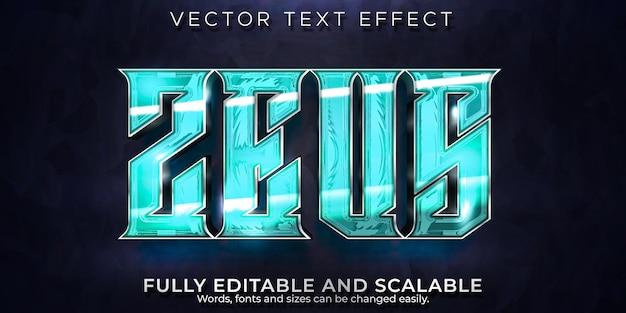 Efecto de texto de relámpago de zeus, juegos editables y estilo de texto de tormenta