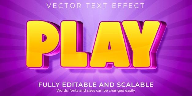 Efecto de texto de reproducción de dibujos animados, cómic editable y estilo de texto divertido