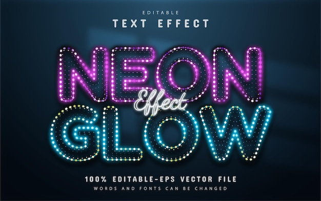 Efecto de texto resplandor de neón editable