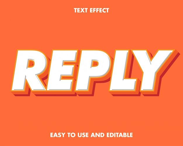 Efecto de texto de respuesta. fácil de usar y editable. prima