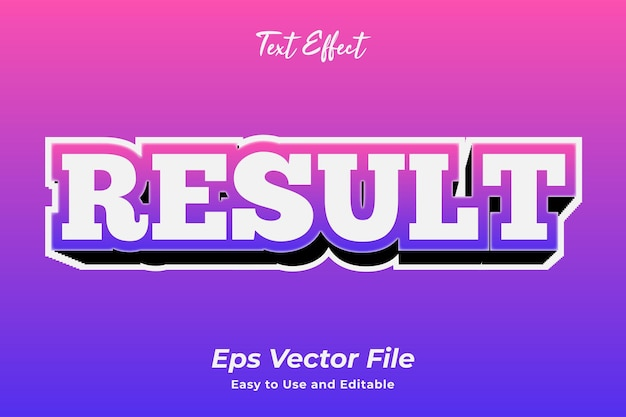 Efecto de texto resultado editable y fácil de usar vector premium
