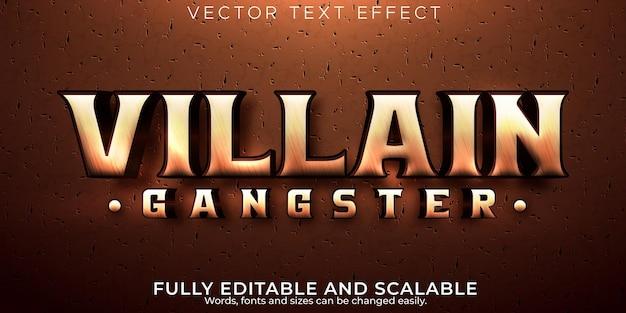 Efecto de texto retro villano estilo de texto antiguo y vintage editable