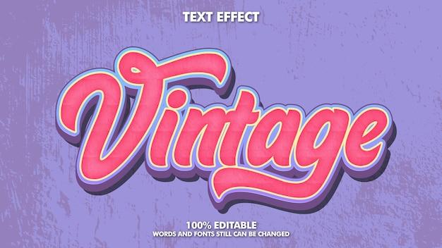 Efecto de texto retro vintage editable con textura grunge