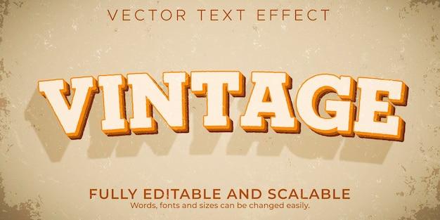 Efecto de texto retro, vintage, estilo de texto editable de los años 70 y 80