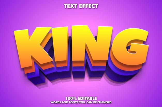Efecto de texto rey, efecto de texto de dibujos animados editable