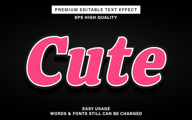 Efecto de texto rosado lindo