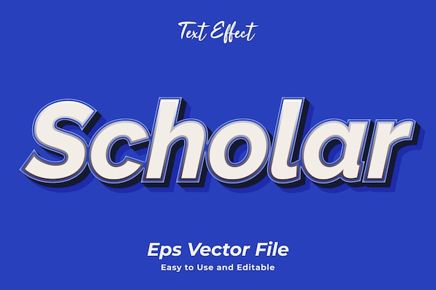 Efecto de texto scholar editable y fácil de usar vector premium