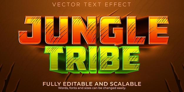 Efecto de texto de selva, bosque editable y estilo de texto de dibujos animados