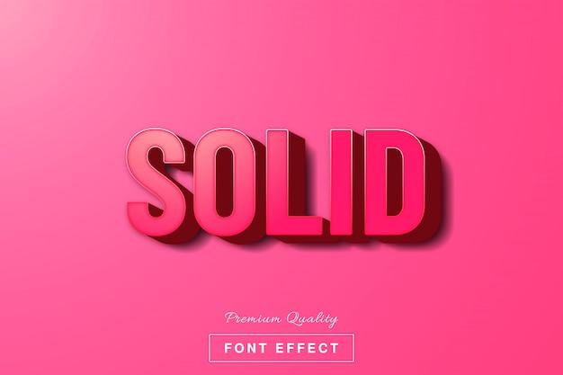 Efecto de texto sólido rosa 3d