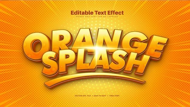 Efecto de texto splash naranja
