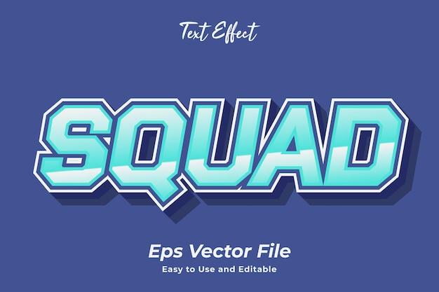 Efecto de texto squad editable y fácil de usar vector premium