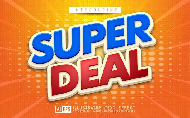 Efecto de texto super deal estilo de texto editable en 3d adecuado para promoción de banner