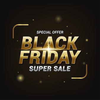 Efecto de texto de super venta de viernes negro, plantilla de banner