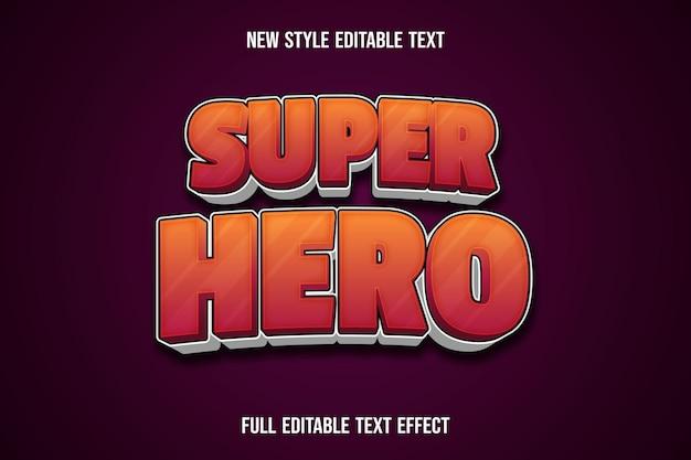 Efecto de texto superhéroe color naranja y blanco degradado