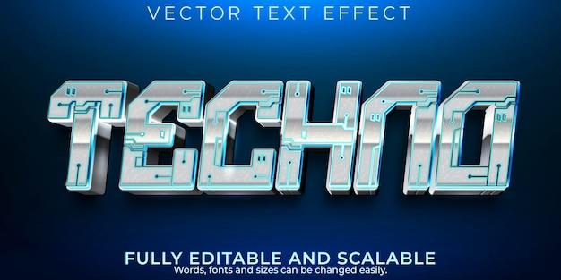 Efecto de texto tecno, robot editable y estilo de texto de máquina