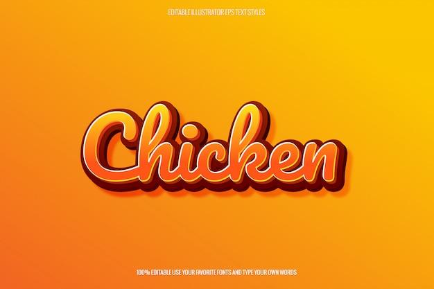 Efecto de texto temático fried chicken para el creador del logotipo