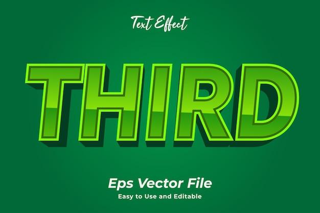 Efecto de texto tercero editable y fácil de usar vector premium
