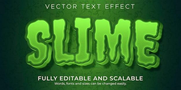 Efecto de texto de terror de limo, monstruo editable y estilo de texto aterrador