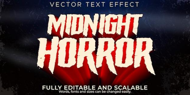 Efecto de texto de terror, noche editable y estilo de texto aterrador