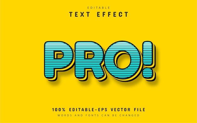 Efecto de texto text pro azul con rayas
