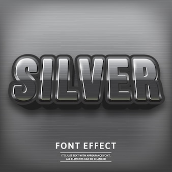 Efecto de texto de título 3d plata brillante. tipografía tipográfica.