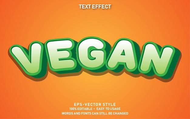 Efecto de texto vegano lindo