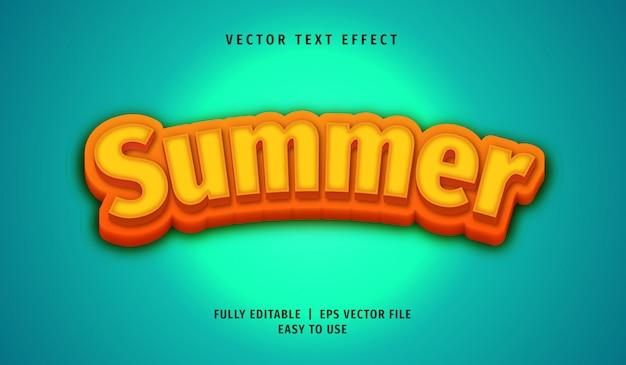 Efecto de texto de verano 3d, estilo de texto editable