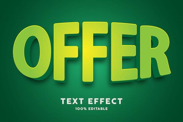 Efecto de texto verde bulto 3d