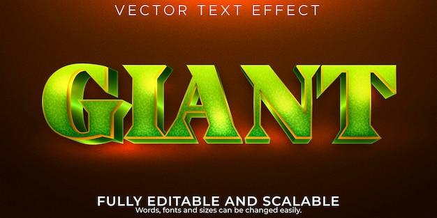 Efecto de texto verde gigante, dibujos animados editables y estilo de texto cómico
