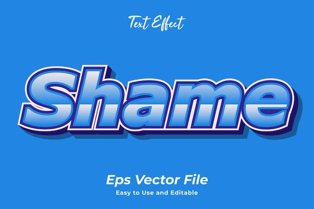Efecto de texto vergüenza fácil de usar y editable vector premium