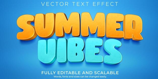 Efecto de texto de vibraciones de verano, dibujos animados editables y estilo de texto de playa
