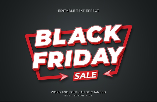 Efecto de texto de viernes negro rojo y blanco