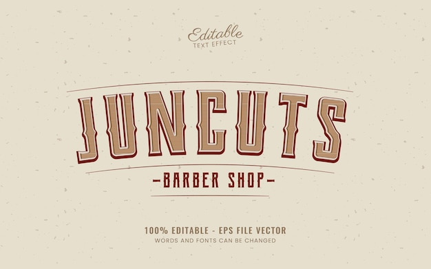 Efecto de texto vintage bueno para peluquería vector gratuito