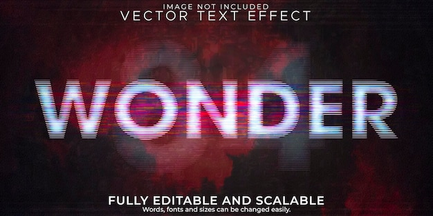 Efecto de texto wonder cinema, estilo de texto retro editable y glitch