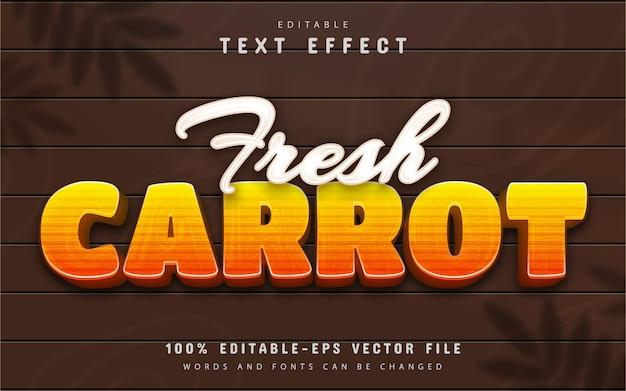 Efecto de texto de zanahoria fresca editable