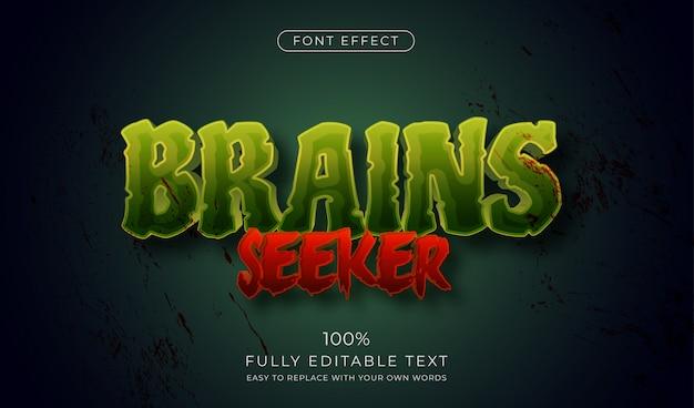 Efecto de texto zombie horror. estilo de fuente editable