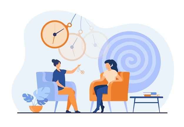Efecto de trance en la mujer durante la sesión de terapia de hipnosis aislado ilustración vectorial plana. remolino psicodélico abstracto y reloj castellano. estado alterado de la mente y el concepto de inconsciencia