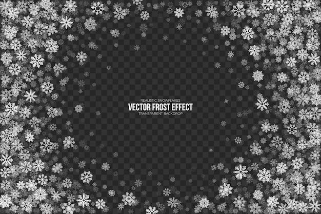 Efecto transparente de escarcha de nieve