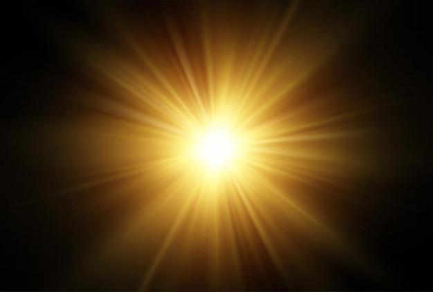 Efecto transparente de los rayos del sol aislado sobre fondo negro