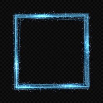 Efecto de trazado de luz de neón cuadrado.