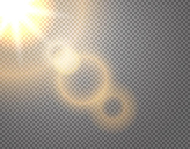 Efecto de vector de sol aislado sobre fondo transparente