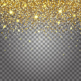 Efecto de volar partes de oro brillo de lujo rico diseño de fondo. fondo gris claro para efecto. stardust provoca la explosión en un fondo transparente