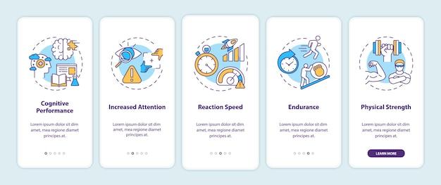 Efectos de bebidas energéticas en la pantalla de la página de la aplicación móvil incorporada con conceptos