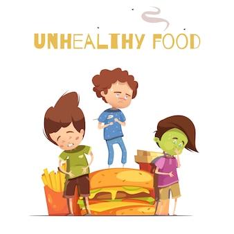 Efectos dañinos de comida chatarra poco saludables que advierten de un cartel de dibujos animados retro con chi de hamburguesa y enfermos
