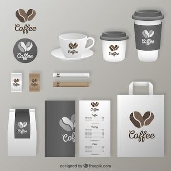 Efectos de escritorio cafetería gris
