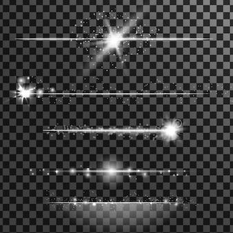 Efectos especiales detallados realistas blancos. las explosiones y las brillantes partículas de luz.