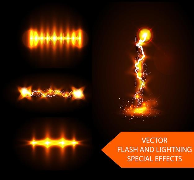 Efectos especiales de rayos y destellos amarillos.